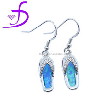 2015 CZ silver opal earring slipper shaped with fish hook