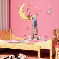 Adesivo De Parede Moon Couple Love Pots wall decals Removable Wall Stickers Children's Room Bedroom Marriage Nursery Wallpaper