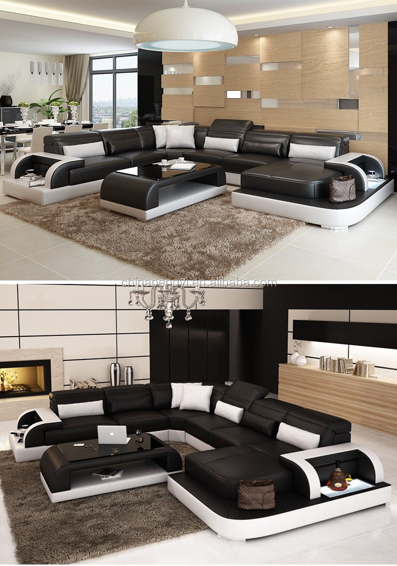 2016 living home furniture modern leather sectional sofa PY-2213