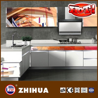 European style lacquer white high gloss kitchen cabinets