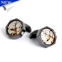 Steampunk mechanical Watch Cufflinks 3D Gunmetal Black Clockwork movements Cuff Links Man Jewelry Wedding Gift