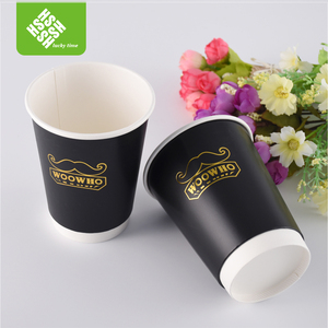 Wholesale custom logo printed disposable double wall paper coffee cup