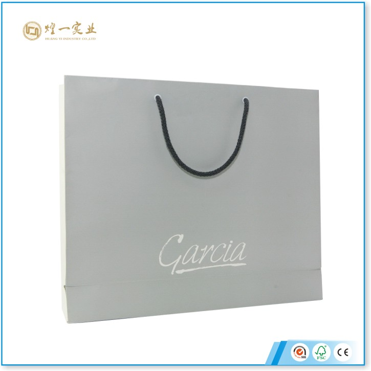 White Recycle Paper bag Custom Logo Print shopping bags