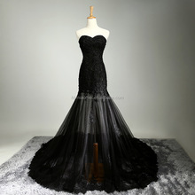 New design black color instock wedding dress long style beaded muslim bridal wedding dress