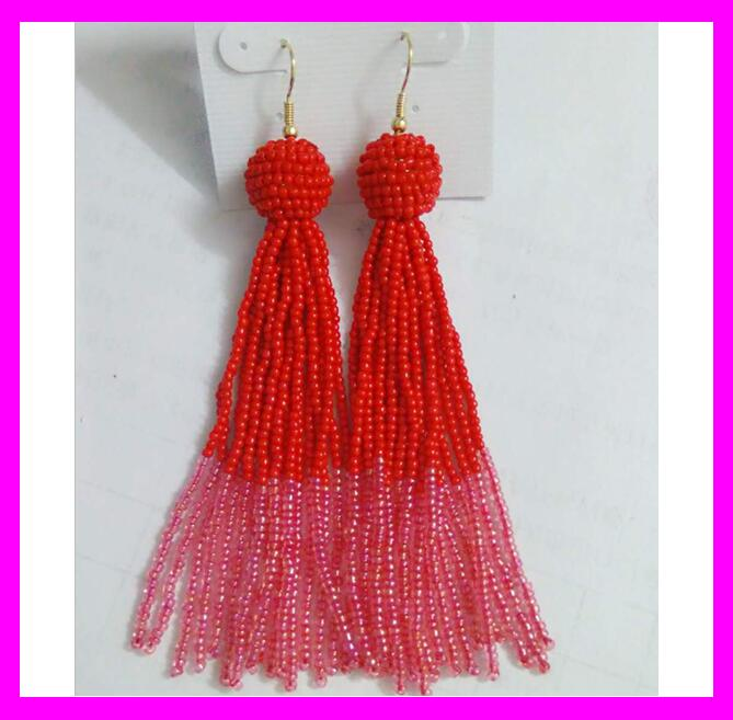 KDA5300 latest model fashion seed beaded tassel earrings