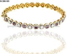 14k Yellow Gold Ruby Gemstone 925 Sterling Silver Rose Cut Diamond Bangle Jewely