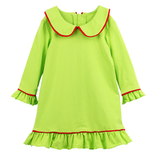 2017 kaiyo winter children clothing christmas dress lime with white trim kids night gown girl pajama gown