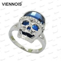 Hot sale latest crystal human skull ring