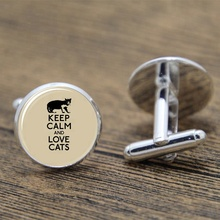 Cat Lovers Cufflinks Keep Calm and Love Cats KCLC gift glass Photo Cabochon Cufflinks