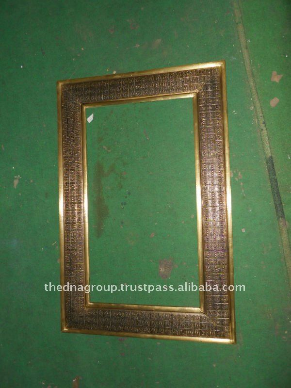 wood+metal/carved /painted photo frame
