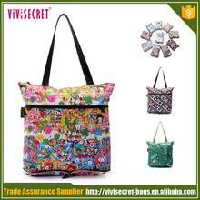 Large and portable flowers foldable shopping bag for new year shopping