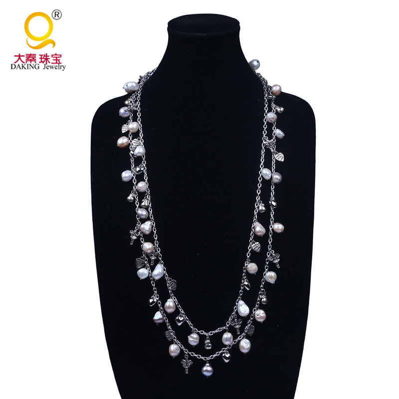 Sale long chain baroque pearl necklace design,two layer bead necklace