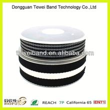 Custom button hole/loop elastic polyester band/webbing/tape,polyester bias tape assembly with arrowhead