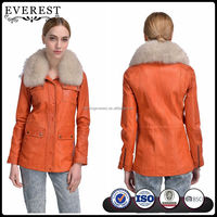 Lamb Nappa Leather Jacket for Women Leather Jacket with Fox Fur Collar