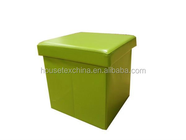 cheap! green leather foldable storage ottoman