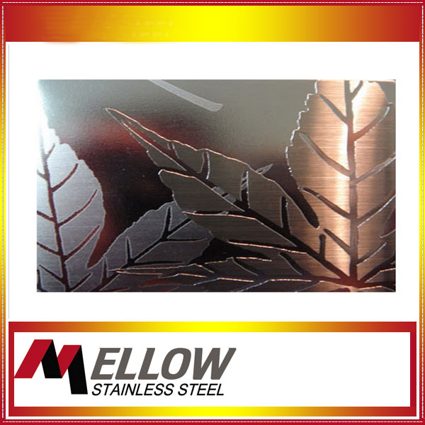 Mellow Leaves Pattern Etching Decorative Stainless Steel Sheet For Interior Wall Panel/Elecator Door