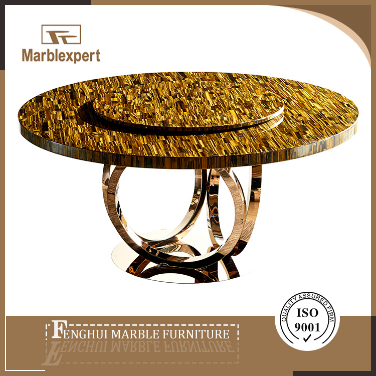 Yellow tigereye luxury classic rotating dining table marble