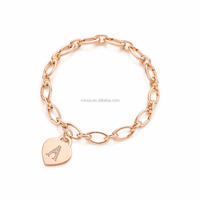 fashion jewelry popular alphabet heart tag bracelet rose gold link chain bracelet Cuban link bracelet