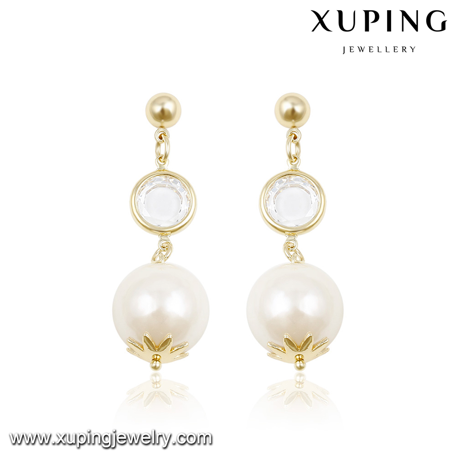 92680-alloy jewelry manufacturer 14k gold white pearl earrings