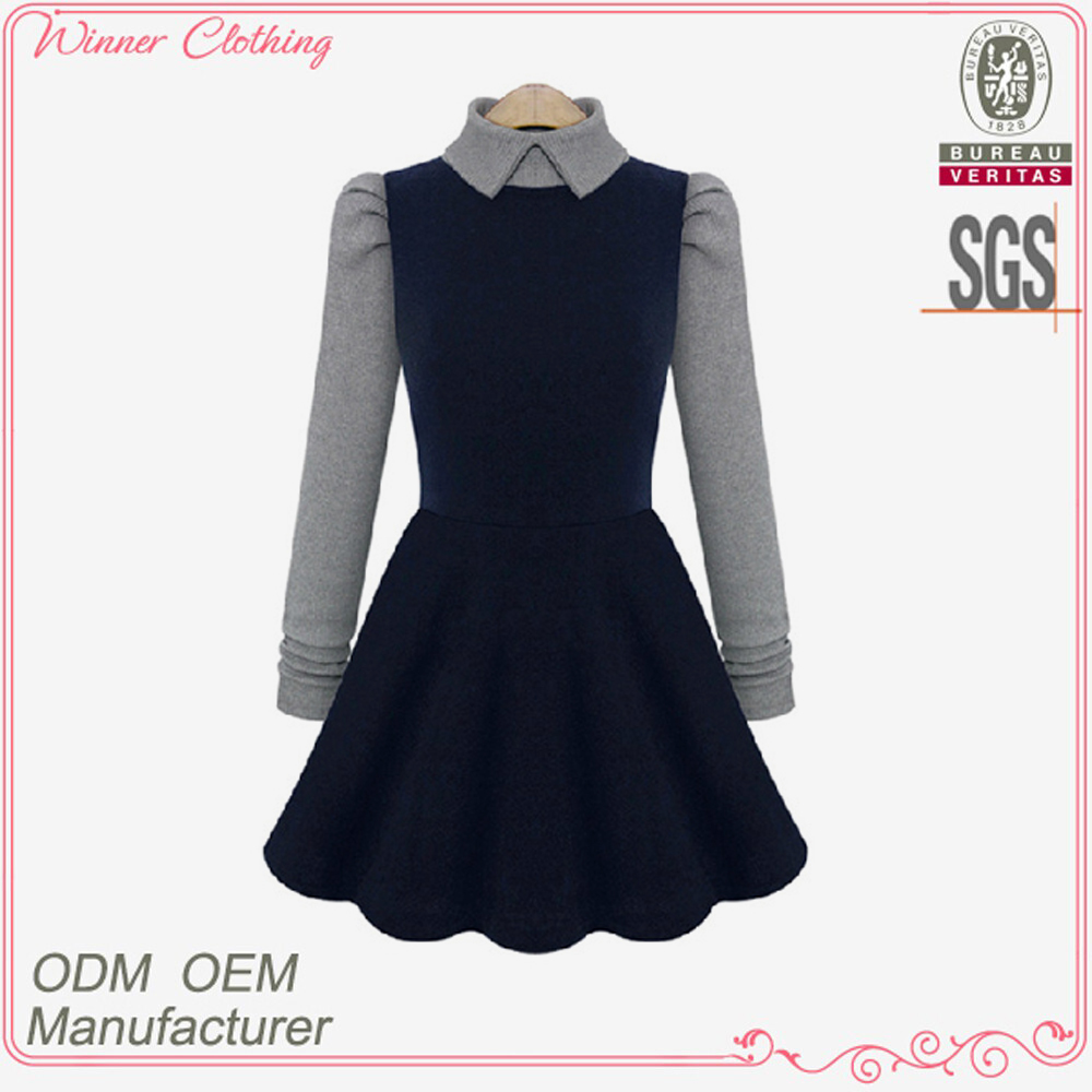 New modern women's clothing garment apparel direct factory ladies winter dress designs