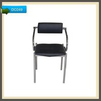 Modern design leather dining chair with chromed legs DC049