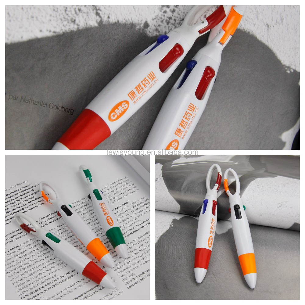 plastic ballpoint pen 4 color in one pen with carabiner high quality colourful ball point pen refill plastic promotion