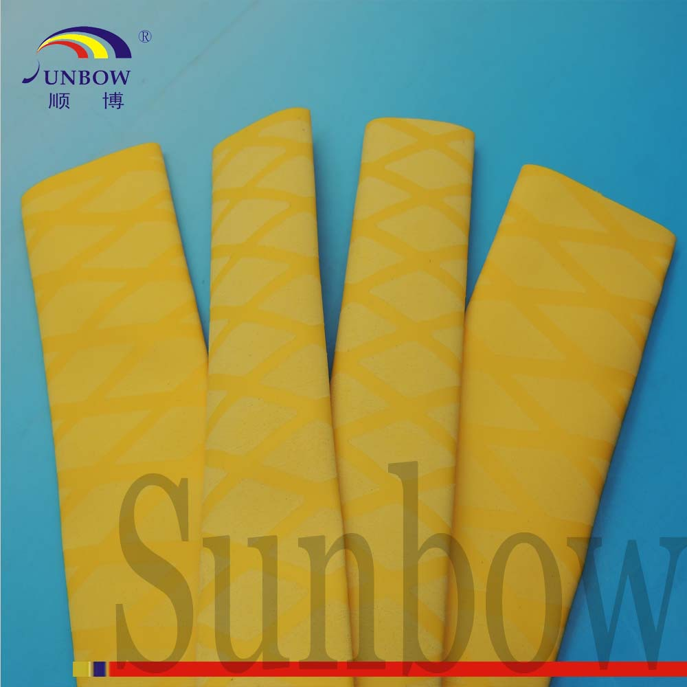 SUNBOW Wholesale Polyolefin Non Slip Grip Heat Shrink Tubing Yellow 22MM