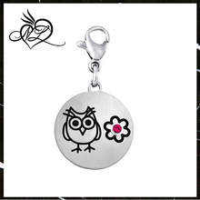 Stainless Steel Owl Dangle Disc Charm Birthstone