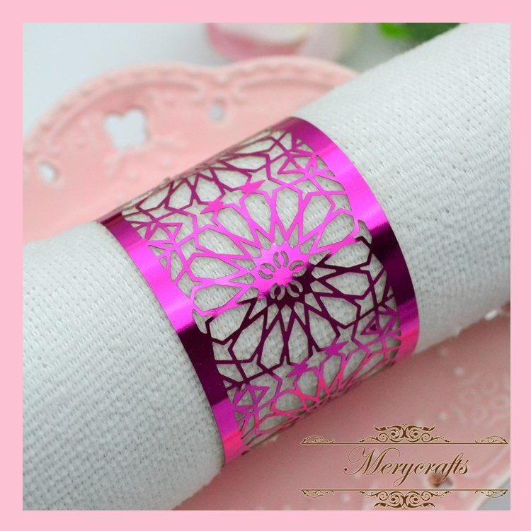 NP08 High Quality 250g Metallic Paper Crafts Shiny Paper Wedding Dinner Decoration Laser Cut Napkin Ring