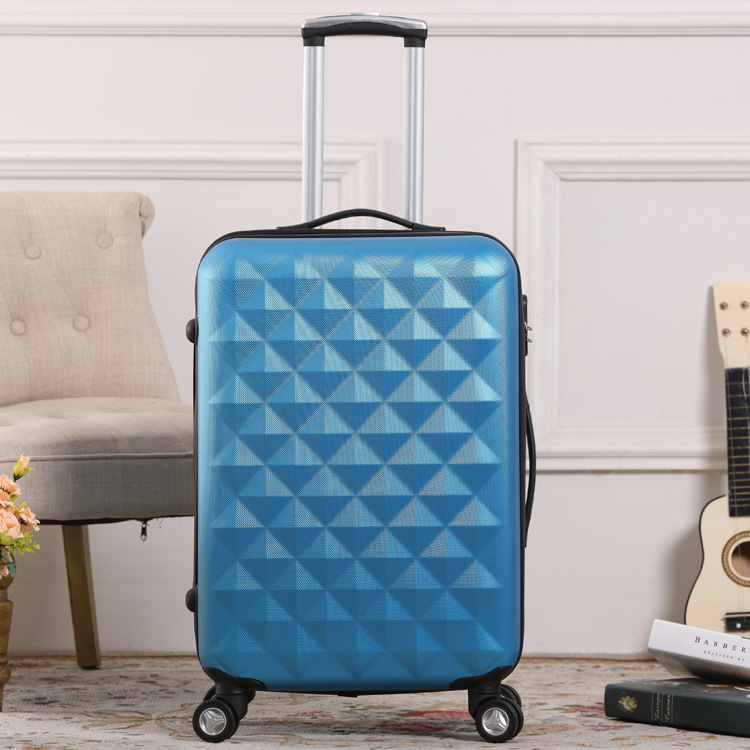 Customized logo fashion travel ABS luggage with universal wheels, diamond stripe travel luggage