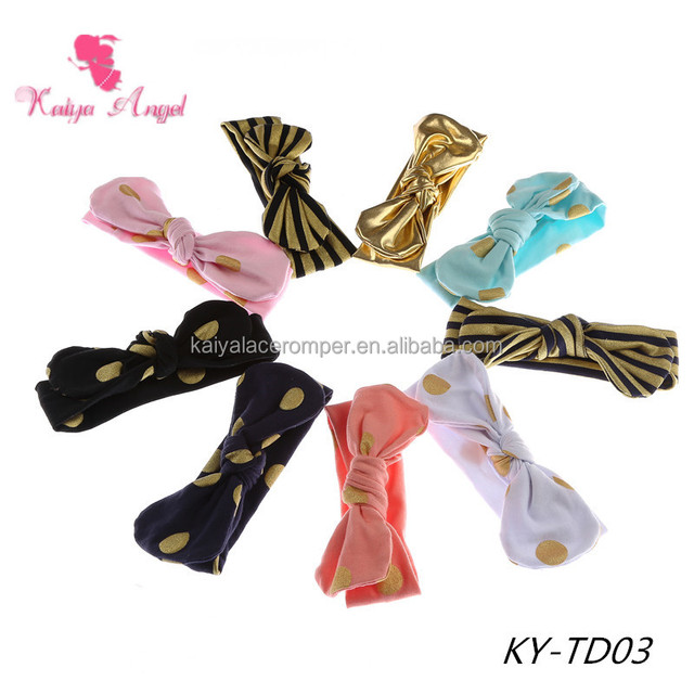 Large Size in stock 50% off baby gold polka dot and striped hair bows cotton headbands children hair ties