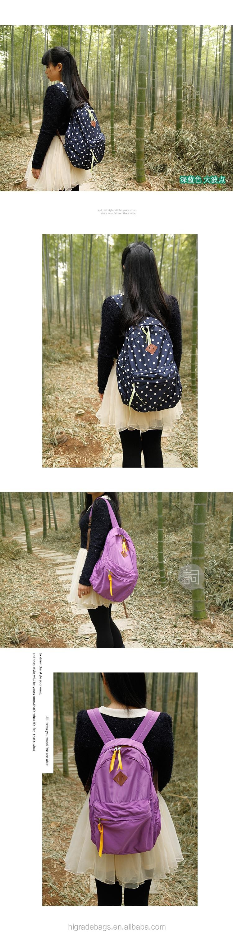 new style cheap foldable nylon backpack for girl