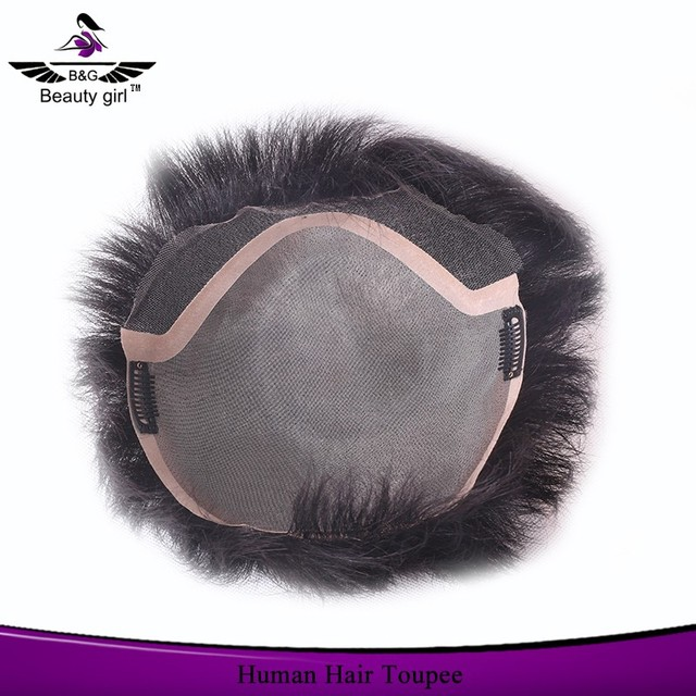 Unwefted human hair piece toupees for black men