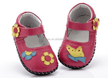 2015 genuine leather summer side stitching baby shoes