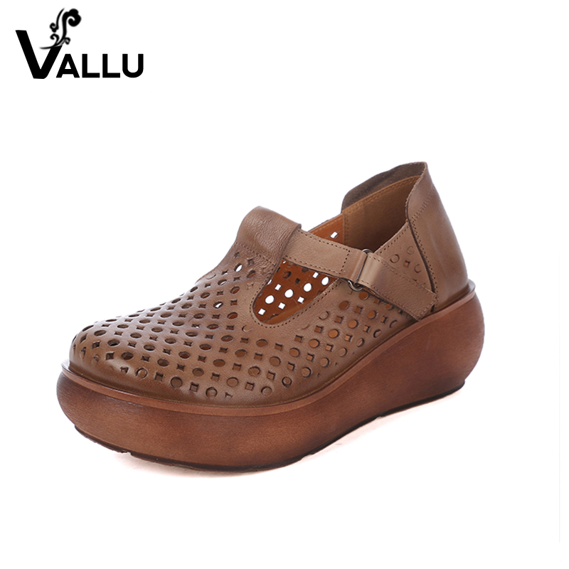 new product genuine leather casual sandals breathable flat shoes women 2017 platform shoes