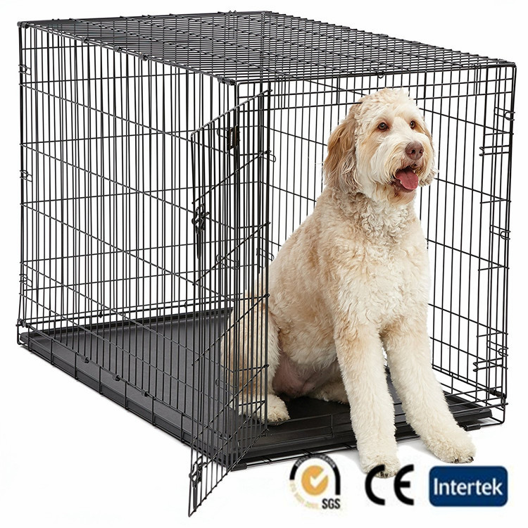 Pet carrier single door & double door folding metal dog crates
