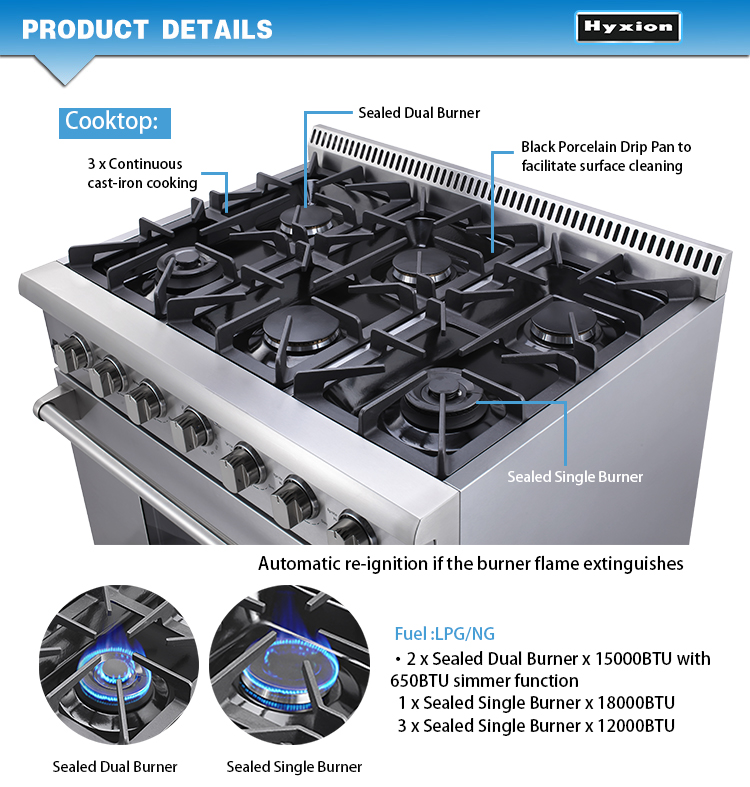 Kitchen home gas stove with convection oven