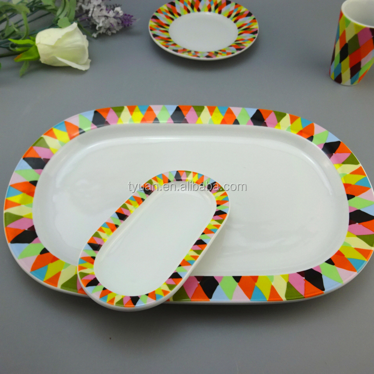 white porcelain rectangular dises plate with colorful decal