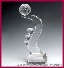Unique design crystal golf trophy awards collections for corporation souvenir/gifts
