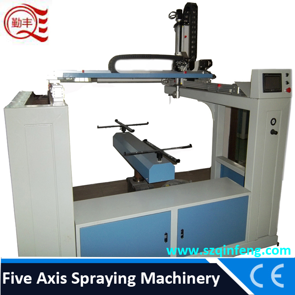 Electrostatic auto spray equipment for Motorcycle, helmet,toy,doors, plate etc by 5 axial spraying paint machine