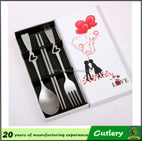 wedding gift promotional items stainless steel fork and spoon set /cutlery set with heart shape handles