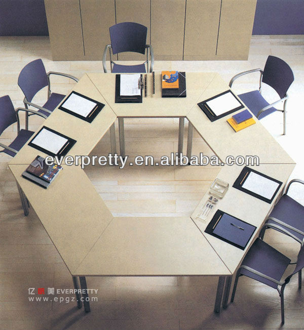 12 person hexagon style conference table,modern meeting desk, MDF&Melamine business table set