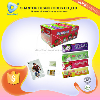 Mixed fruit flavour 5pcs chewing gum with tattoo