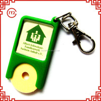 Existing mold customized 3d promotional OEM plastic trolley coin keychain