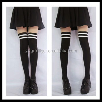 Academy Students Fake Over-knee Stocking Double Stripe Tights Pantyhose black color