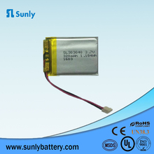Rechargeable 3.7V 320mAh li-polymer batery 303040 lithium ion battery for Bluetooth headset
