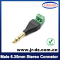 1pcs Green Male 6.35mm Stereo connector to screw block with RoHS approved