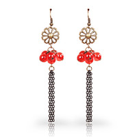 MYLOVE red beads earrings long wholesale cheap jewelry MLE034