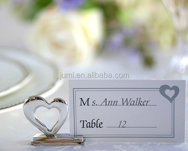 Stainless steel heart shaped wedding and party place card holder table supplies decoration