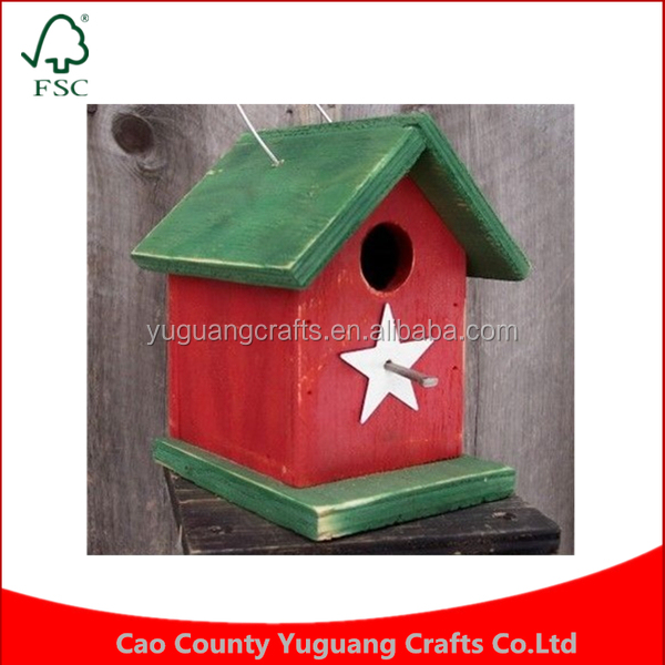 Custom Feeder Handcrafted Manufacture White Black Metal Star Songbirds Primitive Bird House Wooden Cages
